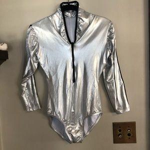 Metallic Silver Zip Front Long Sleeve Leot…